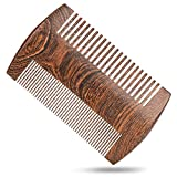 H&S Wooden Beard Comb Anti Static Moustache Pocket Comb Wood Coffee Sandalwood for Men