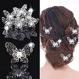 10ST Braut Hochzeit Schmetterling Blume Perle Strass Haarnadeln Haarspangen