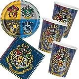 Carpeta/Unique 33-teiliges Partyset * Harry Potter * mit Teller + Becher + Servietten + Deko // Harry Potter Geburtstag Set Partygeschirr Deko Party Mottoparty Motto Luftballons