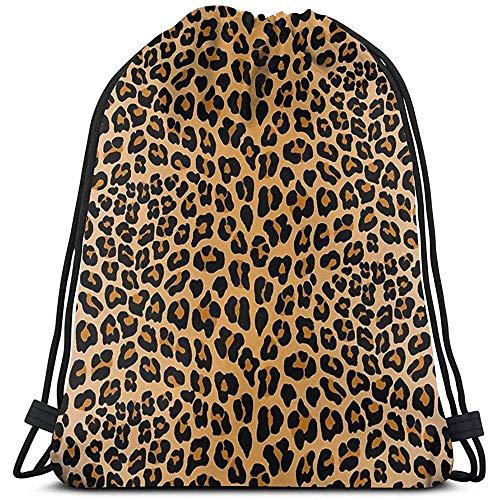 Mochila con Cordón,Bolsas De Cuerdas Gimnasio,Drawstring Bolso,Backpack,Estampado Leopardo Mujer/Hombres Cinch Pack,Bolso Ligero,Mochila De Viaje Deportivo