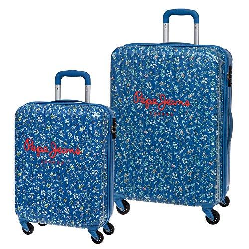 Pepe Jeans Set de Maletas, Diseño Flores, 72 Lt, Color Azul
