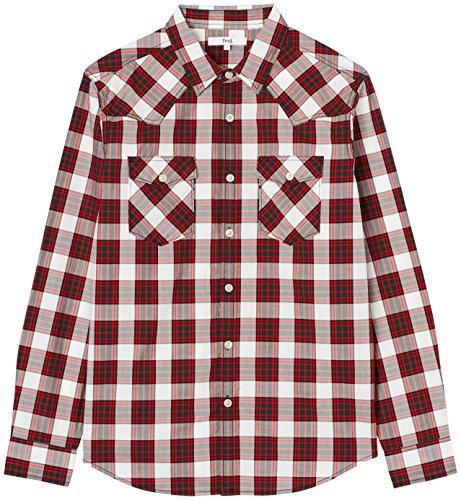 FIND Hemd Herren mit Brusttaschen, lockerer Passform und abgerundetem Saum, Rot (Checkered), 52 (Herstellergröße: Large)