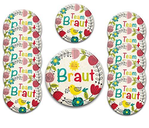 12er Set JGA Party Buttons Set f. Frauen: Braut-Button + 11 x Team Braut Ø 5,6 cm / 3,7 cm | Accessoires zum Junggesellenabschied (Günstige Junggesellinnenabschied Kostüm)