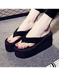 FLYRCX Sommer Mode rutschfeste Clip flip flops Damen flache Unterseite Hang und Hausschuhe,37 EU, b
