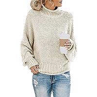 Socluer Donna Autunno Invernali Eleganti Moda Pullover Abbigliamento Collo Alto Baggy Monocromo Manica Lunga Maglioni…