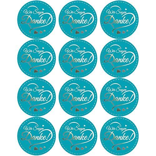 Oblique Unique® 12 Sticker zum Danke Sagen Aufkleber für Hochzeit Jugendweihe Konfirmation Gastgeschenk Geschenkdeko - wählbar (Blau - Wir Sagen Danke!)