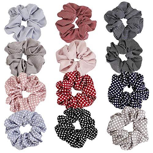 Haarbänder aus Chiffon, gepunktet und gestreift, elastisch, für Damen und Mädchen, 12 Stück (Stoff-haargummi)