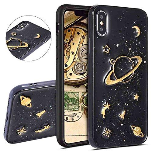 l, bling glitzer Sparkle Nebel Moon Star Space Universe auf Schwarz Rückseite Luxus weichen TPU Silikon Gummi Ultra Thin Bumper Schutzhülle für iPhone X Schwarz 1 ()