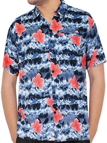 LA LEELA Strand Hawaiihemd Herren XS - 5XL Kurzarm Front-Tasche Hawaii-Print Casual Button Down Hemd Schwarz Schwarz