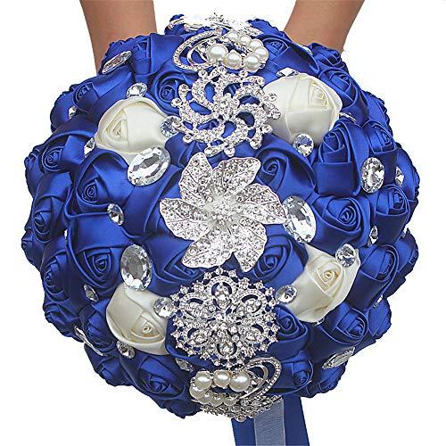 Multi Couleur Romantique mariée Mariage Tenue Bouquet de Fleurs de Mariage Perle Ruban Ruban de Mariage Fleur (Couleur : Blue+White)