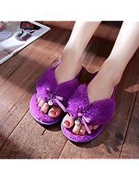 G&Z Zapatillas de casa de felpa para mujer Ultra suave antideslizante para otoño Invierno Viaje Trabajo Inicio , purple , 38
