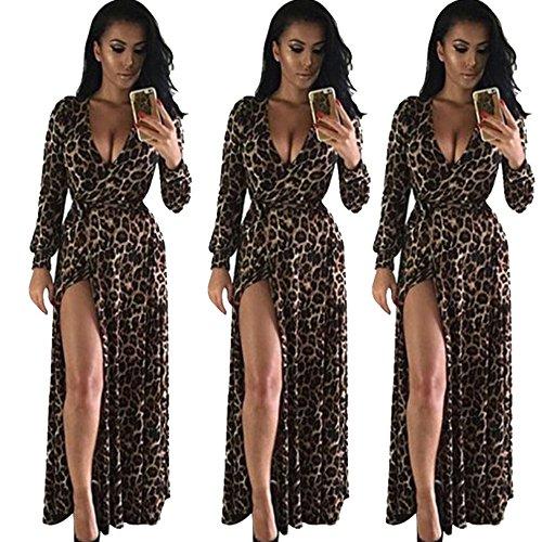 plus size mit sexy tiefen v-ausschnitt split langarm hohe taille neuen look lange beiläufige kleider für frauen (Freude Fancy Dress)