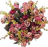 XIUER Bouquet di fiori artificiali in seta, 7 rami con 21 boccioli, decorazione floreale per matrimonio, confezione da 2 mazzi Hot Pink