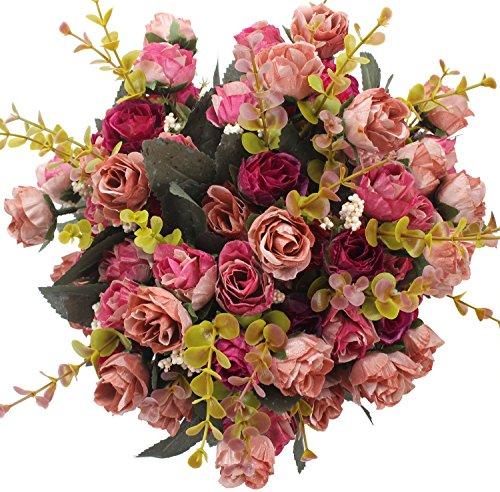 Xiuer 7ramo 21capi artificiale seta rose wedding decorazione floreale bouquet di fiori finti, confezione da 2 hot pink