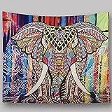 MIAO Tapestry Wanddekoration Mandala Indischer Elefant Hippie Tapisserie Bettdecke Tischdecke Picknick Strand Tuch Schal Schal Tuch (Farbe : A, größe : 150x102cm)