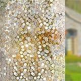 LY-Kein Kleber Privatsphäre Fenster Film Dekorativ Fenster Film Static Cling Fenster Film 45 * 200cm Kreise Parttern Glas Film für Zuhause Küche Büro Schlafzimmer Wohnzimmer