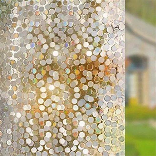 Wandsticker Kein Kleber Privatsphäre Fenster Film Dekorativ Fenster Film Static Cling Fenster Film 45 * 200cm Kreise Parttern Glas Film für Zuhause Küche Büro Schlafzimmer Wohnzimmer