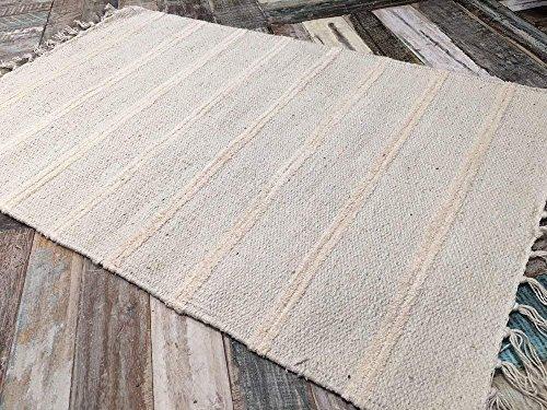 Pequeño, algodón Natural y Yute Gris y Blanco Doble diseño de Rayas Alfombra 60cm x 90cm
