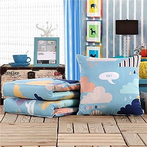 DIDIDD Multifunktions-Auto Kissen Quilt Sleeper Sofas Baumwolle Office Nachmittag Nickerchen auf Kissen sind Männer Ran,Wolken, 40X40