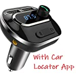 VeeDee Bluetooth FM Transmitter, T19 Radio Adapter Bluetooth Car Kit, 5V/3.1A Dual USB Ports Car Charger, Support TF Card...