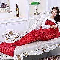 Sirena coda coperta coperta divano salotto tutte le stagioni sacco a pelo per bambini e adulti 190 x 90 cm Lana, Red, tipo 1