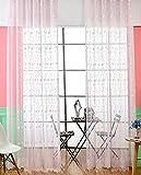 Seite Bside Romantik-Stil Home Dekorationen Voile Drapes Vorhänge, Gardinen Rod Pocket Top Floral Vine Jacquard für Esszimmer Schlafzimmer und Kinder (1Panel, W 52x l 213,4cm, Pink), rose, 52W x 84L Inch, 1 Panel