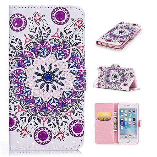 Coque pour iPhone 8 Plus (5.5 Pouces),Portefeuille Housse Etui pour iPhone 7 Plus (5.5 Pouces),Leeook 3D Effet Créatif Violet Papillon Modèle Bookstyle Wallet Case Cover de Protection à Rabat Magnétiq Coloré Violet Mandala Fleur