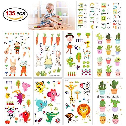 Tatuaggi temporanei per bambini, konsait 135 impermeabile tatuaggio temporaneo fiore lettera animale adesivi tattoo per bambini bomboniere di regali pensierino festa compleanno bambini giocattoli piccoli