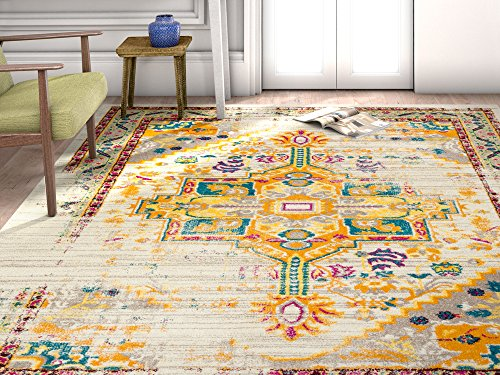 Vintage Heriz Blumen Medaillon traditionellen Multi Farbe Beige Fuchsia Orange Gelb Bereich Teppich, Polyester, multi, 5'3 Inches X 7'3 Inches (Elfenbein-polypropylen-teppich)