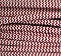 Textilkabel rot weiß Zick Zack 3-adrig 3x0,75mm² rund, auch bezeichnet als: Stoffkabel, Lampenkabel, Kabel Meterware (Strom - Elektro - Lampen Zuleitung - Leuchten Anschlusskabel - Anschlussleitung ohne Schalter und Stecker), Kabel für Lampenfassung Le