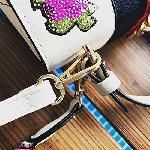 Weibliche Blüte Pailletten Clamshell Kelly Bag Mode Schulter Messenger Tasche Weiß