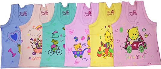 Baby Basic Outfits Inner Wear Unisex, Multi Color, Pack of 6