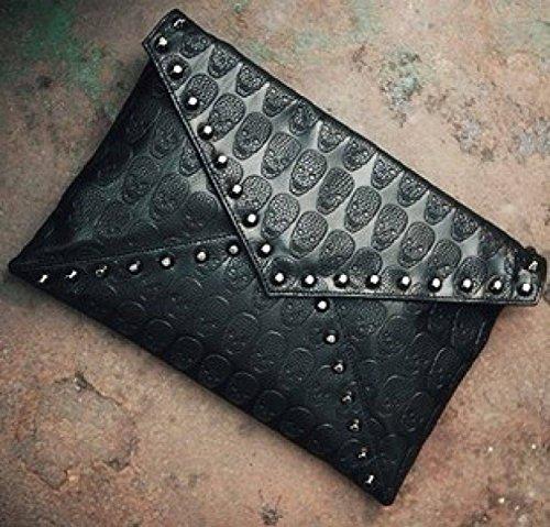 Das Neue 2017 / Korean / Geprägte / Niete / Dekorative Weibliche Tasche / Umschlag Beutel / Kupplung / Schulter Diagonal Paket,Black Black