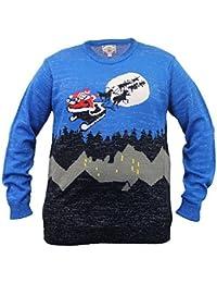 Pour Hommes Grand King Size 3D Pull De Noël D555 Duke tricoté Manchot Rudolph Musique