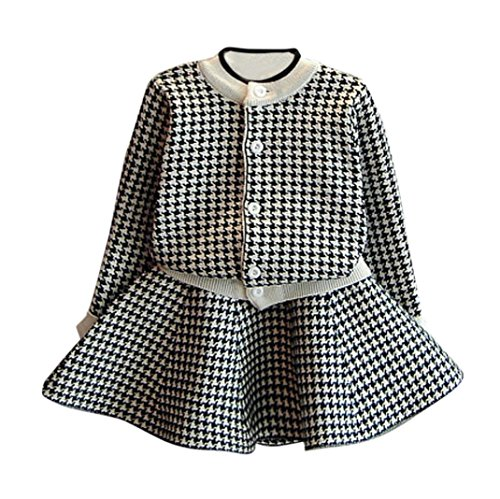 Baby Outfits Set,Honestyi Kinder Kleidung Baby Mädchen Outfit Kleidung Plaid Strickpullover Mantel Tops + Rock 2St Baby Set (Schwarz, 4-5T/110CM)