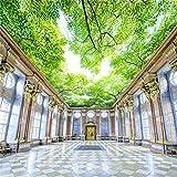 Steaean Plafond De Palmier Peint Ciel De Nuage Bleu Et Blanc Personnalisé Grande Papier Peint Mural Vert, 200 * 140Cm