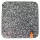 Designer Mousepad aus Filz, 4 Farben, Anti-Rutsch Beschichtung, Made in Germany, hochwertiges Holz Inlay (Grau)