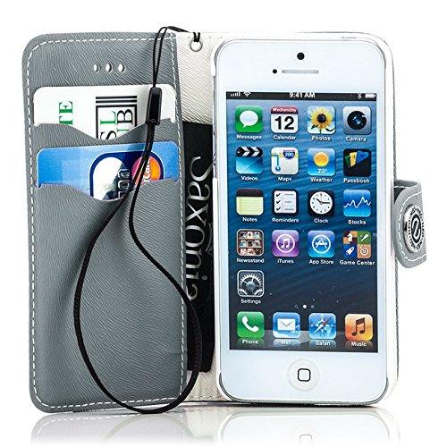Saxonia Flip Case Tasche Apple iPhone SE 5 5S Hülle Schutzhülle Elegante Handytasche mit Kartenfach Standfunktion Farbe Grau-Weiß Grau-Weiß