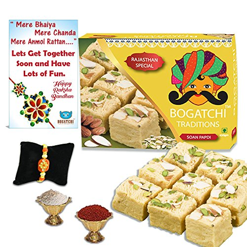 BOGATCHI Soan Papdi Rakhi Combo Gift, 450g (RKH18FSP0A3)