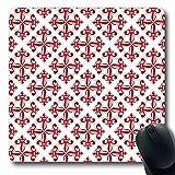 Luancrop Tappetino per Il Mouse per Computer Cartellone Floreale Giglio Rosso Regno Unito Emblema a Fogli mobili Fleur Lis Pagina Lys Tappetino per Mouse da Gioco oblungo Antiscivolo
