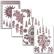 Ahimsa Glow® Tatuajes temporales, conjunto de 4 hojas con 35 hermosos diseños – Tatuajes adhesivos removibles perfectos para novias, despedidas de solteras o como una decoración llamativa para las vacaciones