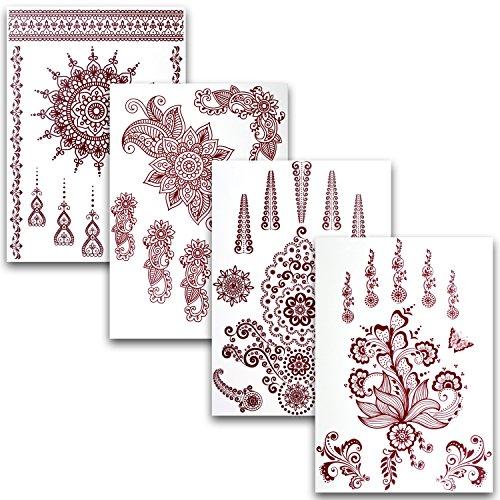 Preisvergleich Produktbild Ahimsa Glow® Flash Tattoo Henna 4er Set mit 35 wunderschönen Motiven – Temporäre Arabic Henna Klebe-Tattoos perfekt als Geschenk für Mädchen und junge Frauen