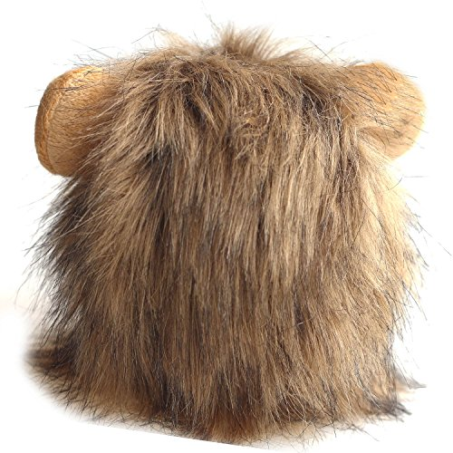 Imagen de beetest león melena mascotas peluca de gato perro mascotas disfraces halloween navidad vestir gris