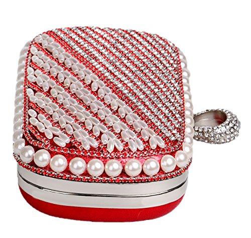 Santimon Damen Handtaschen Perlen Wulstige Glamour Hochzeit Taschen Langkettige Portemonnaies Rot