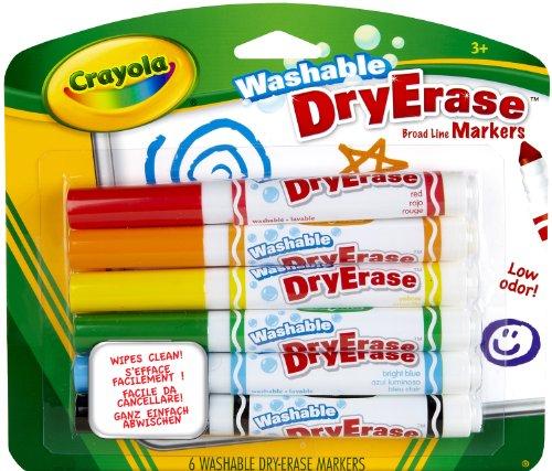 Crayola - Dry Erase, 6 rotuladores Lavables Pizarra