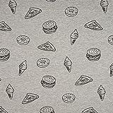 Sweatstoff Baumwoll Sweat Burger Pizza Eis Donut grau