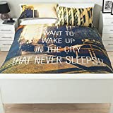 Stylish George Home Wake Up To NYC Manhattan New York Duvet Set King Sized - 225 x 220 cm and two pillowcase 48 x 74 cm