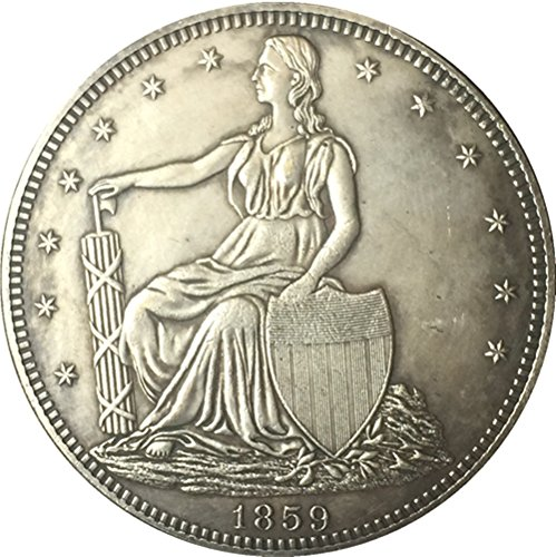 Bespoke Souvenirs Rare Antique United States 1859 Seated Liberty Silver Color Half Dollar Coin Seltene Münze -