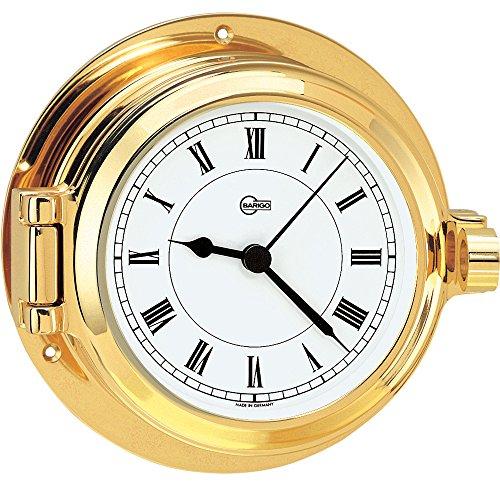 BARIGO Poseidon Series Porthole Quartz Ship's Clock - Brass Housing - 3. 3