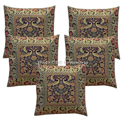DK Homewares Brokat Bohemian Blue Schlafzimmer Dekokissen Abdeckungen 40 x 40 cm Brokat Jacquard Elefant Peacock Square Dekokissen Covers 16 x 16 Home Decor Set von 5 -